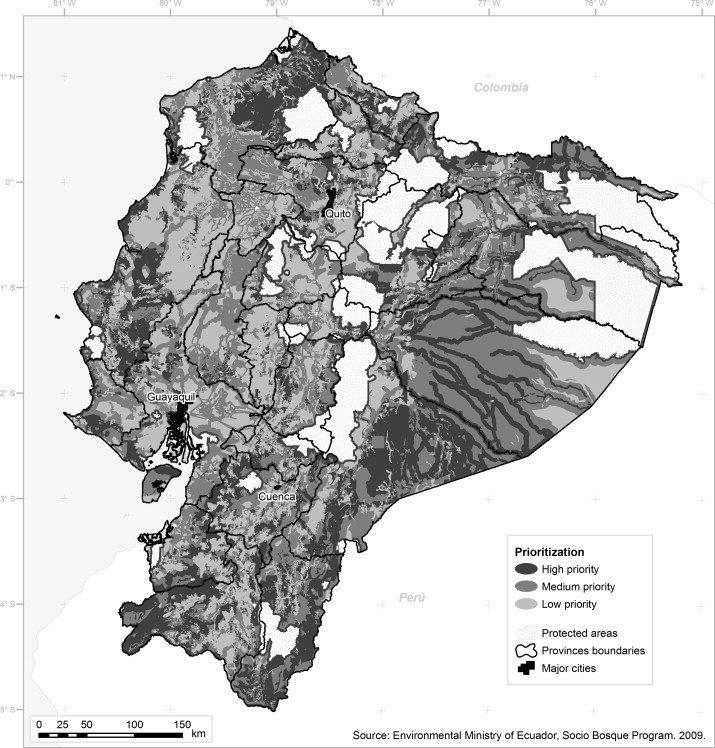 Map of priority areas for Socio Bosque. Source: Ministry of Environment, Ecuador.