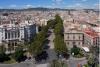 View of the Ramblas, or La Rambla street, in downtown Barcelona from the memorial column of Columbus in Barceloneta, Spain
